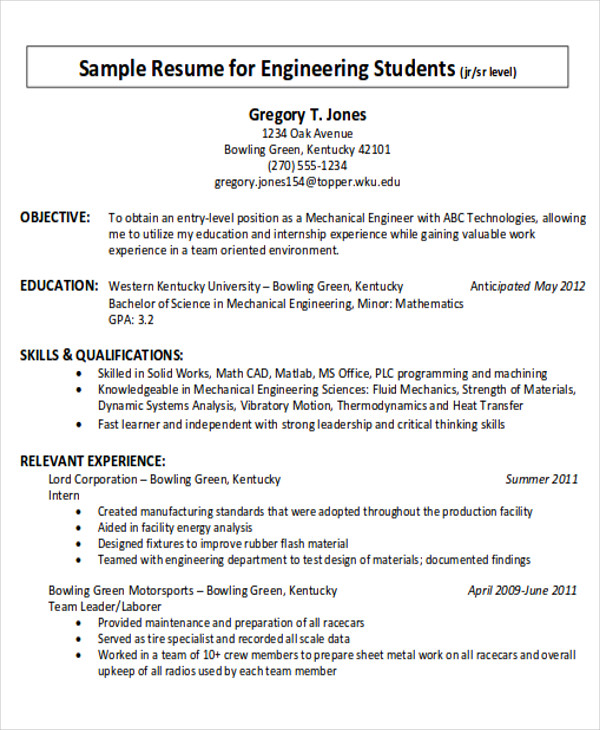 Career Objective Example For Engineering Students In PDF