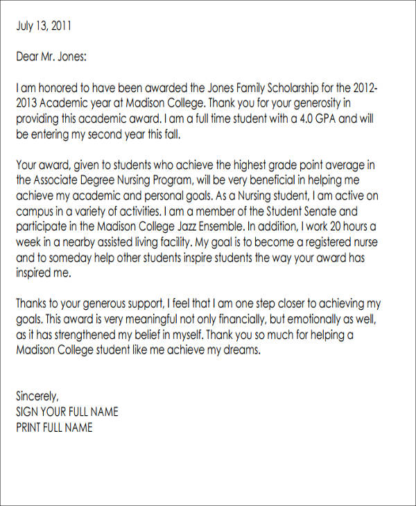 scholarship award thank you note pdf