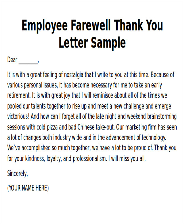 Sample Thank You Notes To Employee   Examples In Word Pdf