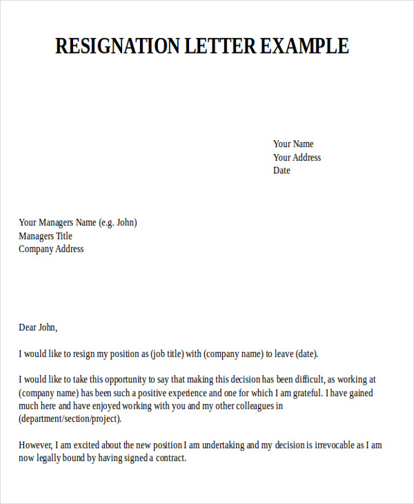 Example Resignation Letter Printable Sample Letter Of Resignation – Resignation Format Word