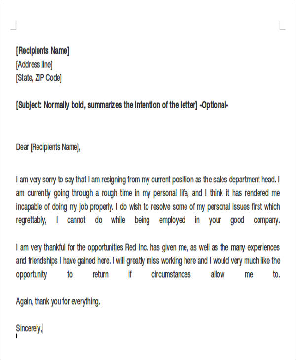 Formal letter format resignation resignation letter format perfect design simple expocarfo Images