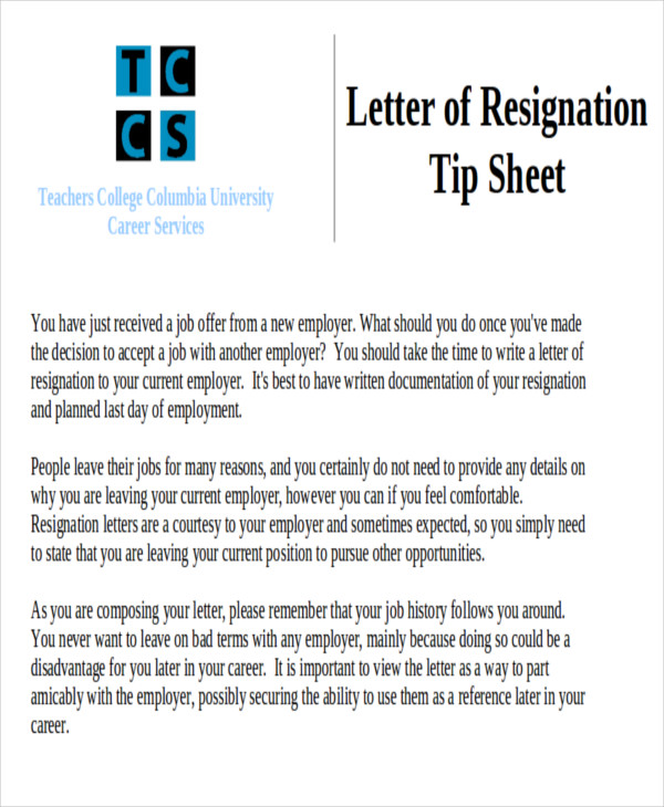 teacher resignation letter new job