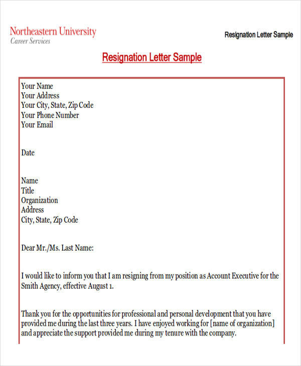 professional resignation letter new job