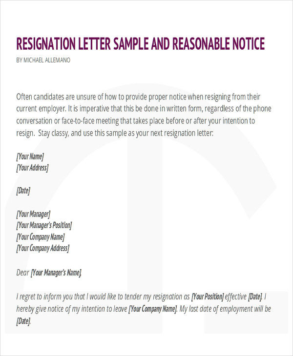 sample resignation letter for new job