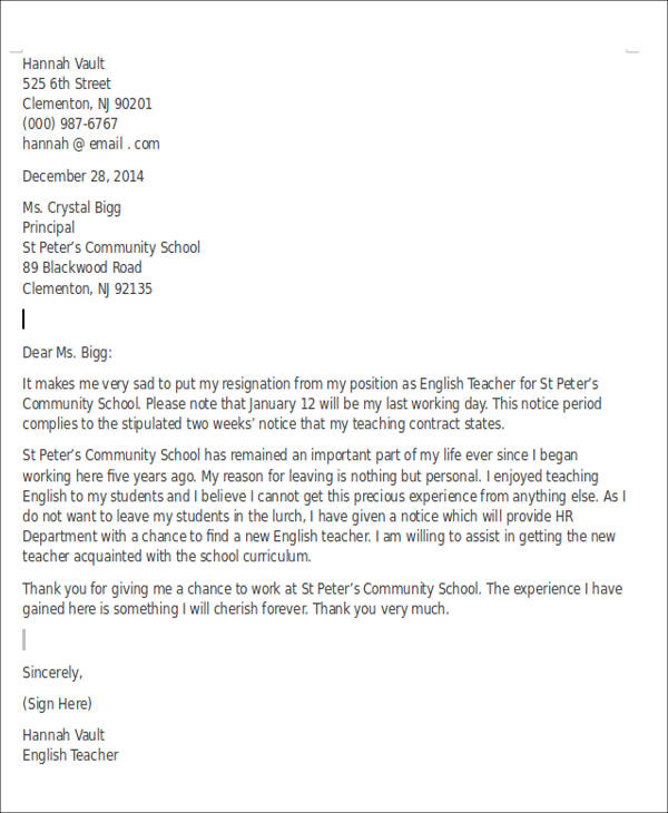 resignation letter format for lecturer pdf 8 sample resignation letters for personal reasons doc pdf 16085
