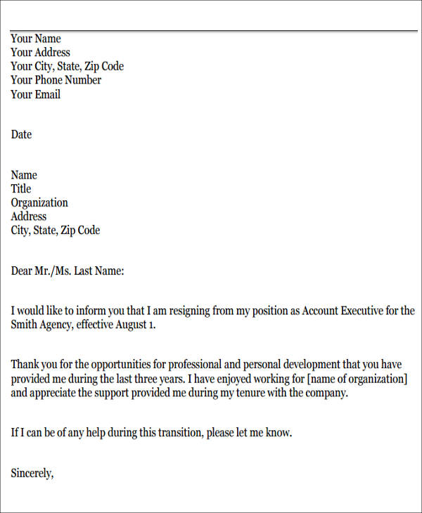 Sample Resignation Letters for Personal Reasons - 7+ Examples in ...