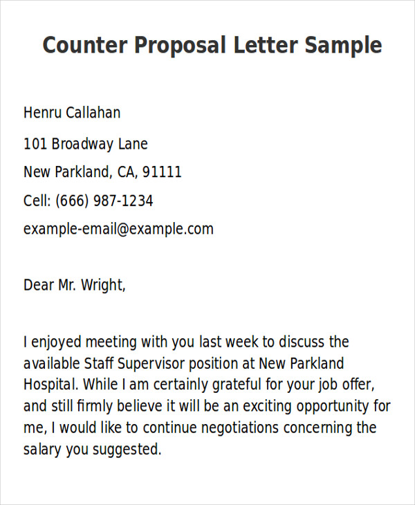 sample counter proposal letter