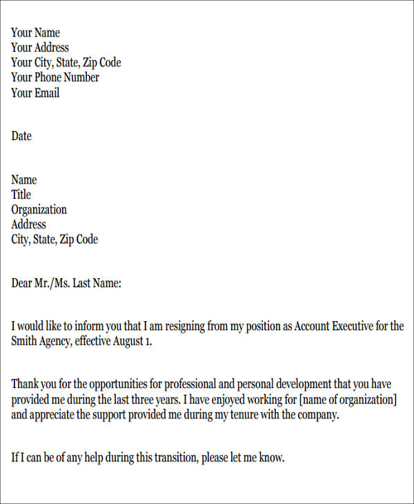 Resignation Letter For Job Pdf