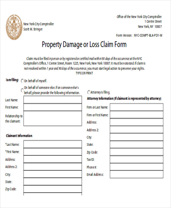 property damage release and report form