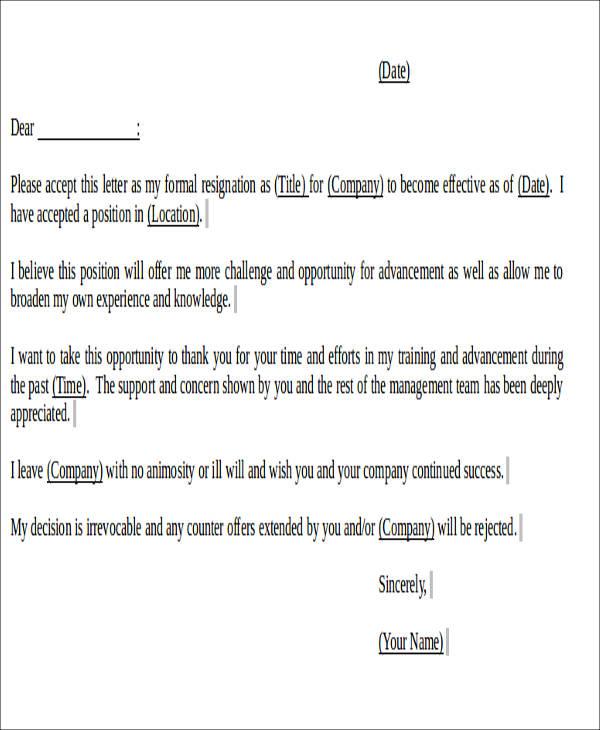 work notice resignation letter