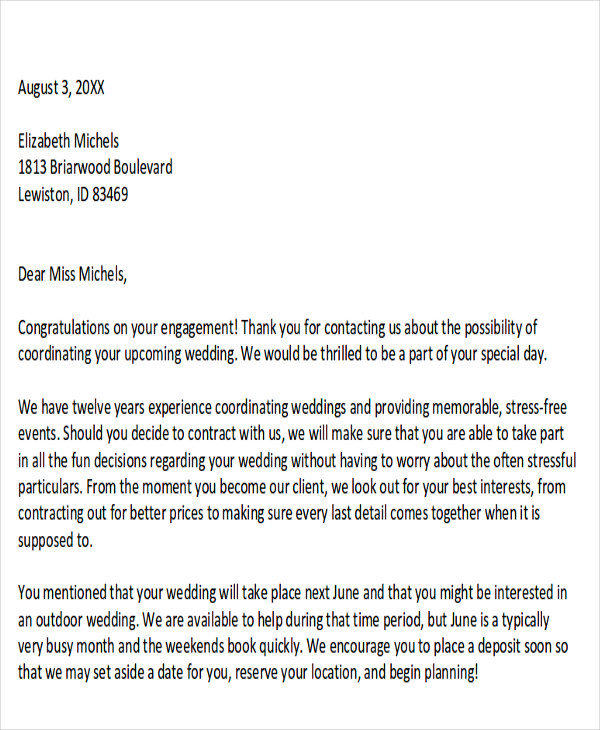 sample wedding event proposal letter