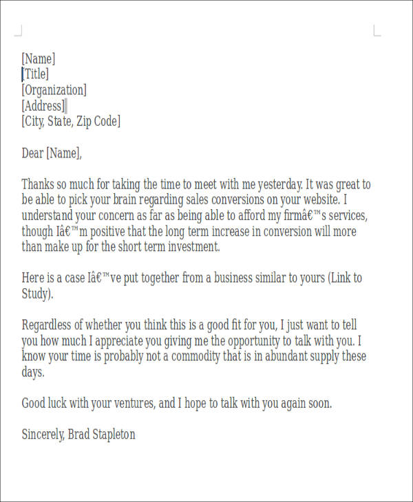 Sample ThankYou Notes For Meeting   Examples In Word