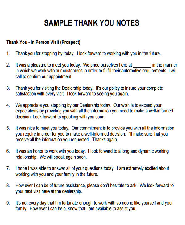 Sample ThankYou Notes For Meeting   Examples In Word Pdf