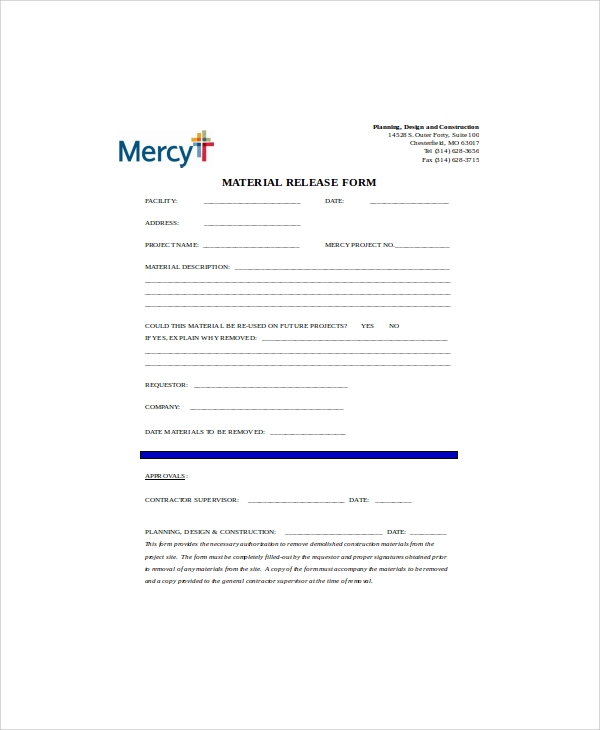 construction material release form