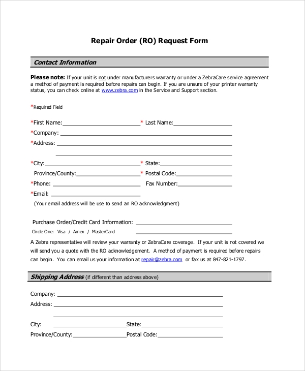 repair order request form pdf