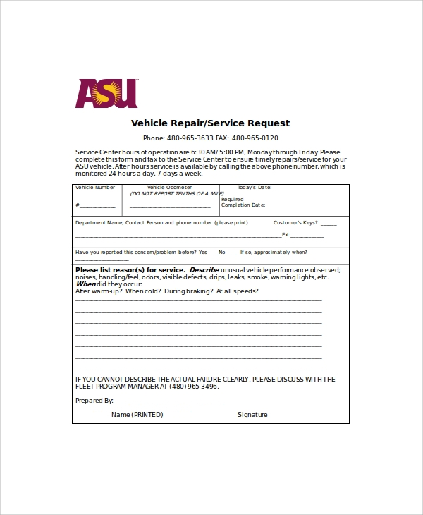 vehicle repair request form