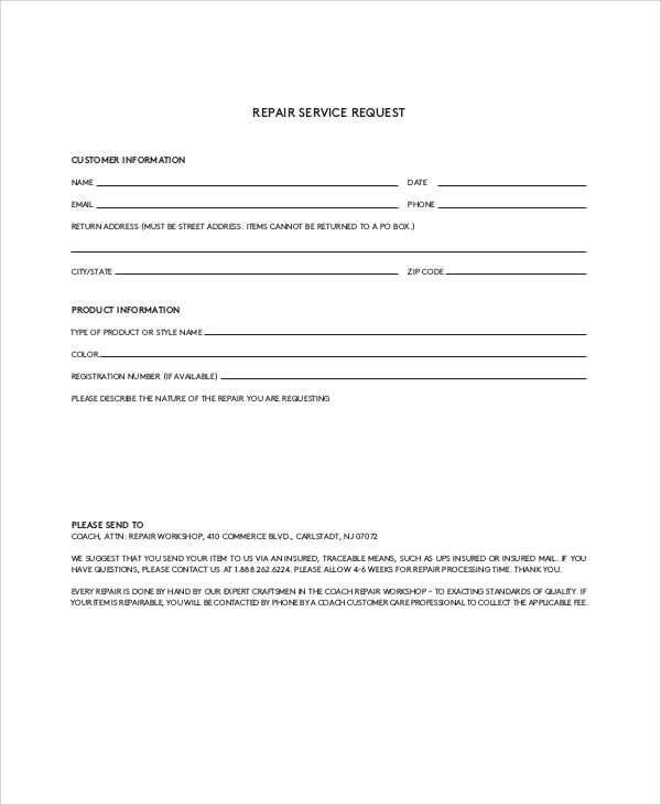 repair service request form