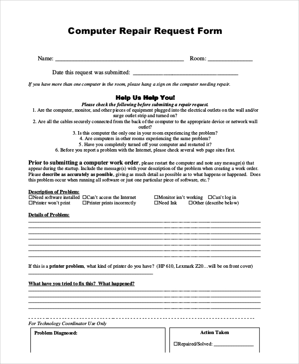 Sample Repair Request Form   Examples In Word Pdf