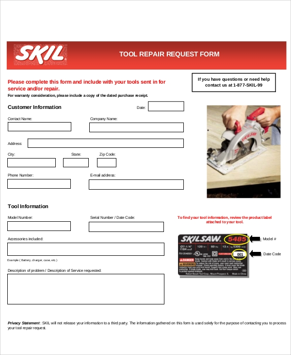 tool repair request form free
