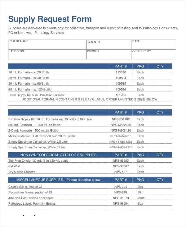 sample supply request form in pdf