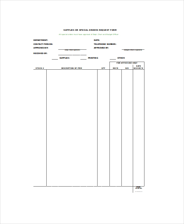 blank supply request form