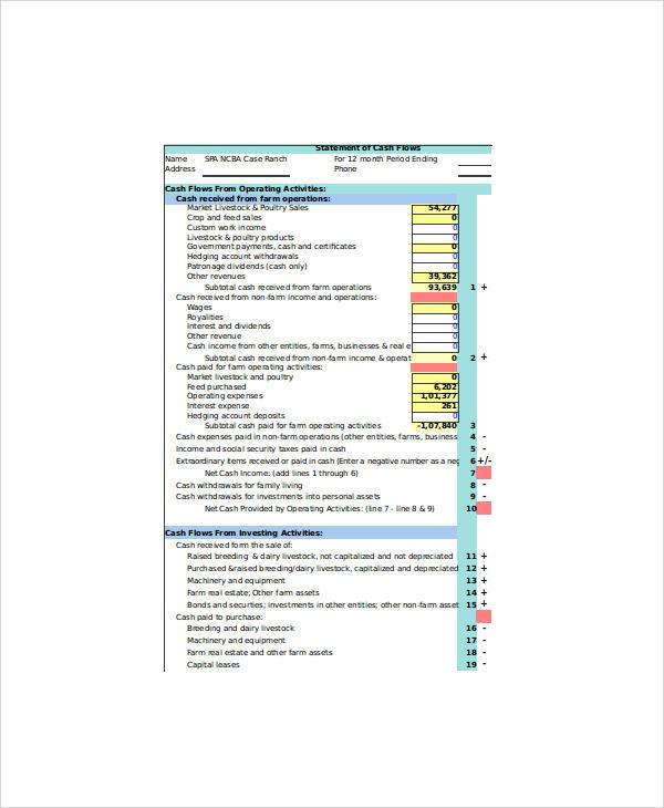 cash flow statement in excel