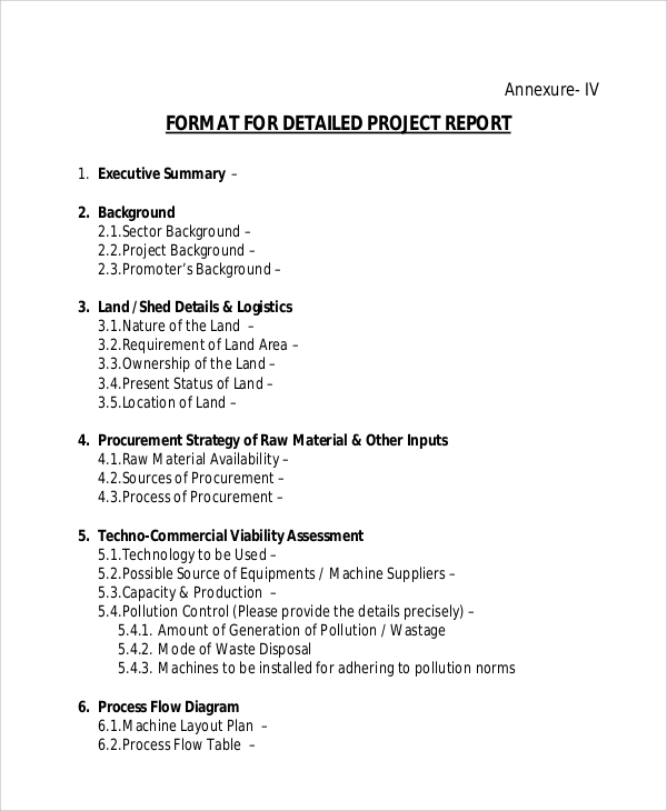 Sample Project Report   Examples In Pdf Word