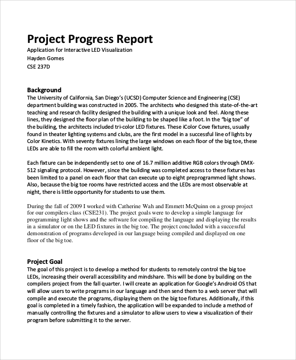 Progress Report Sample Image Gallery  Hcpr