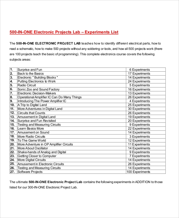 Project List Sample   Examples In Word Pdf