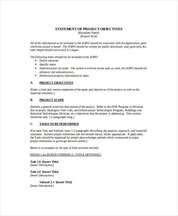 28 project objective statement best resume exle