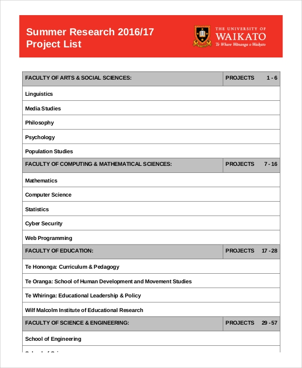 summer research project list