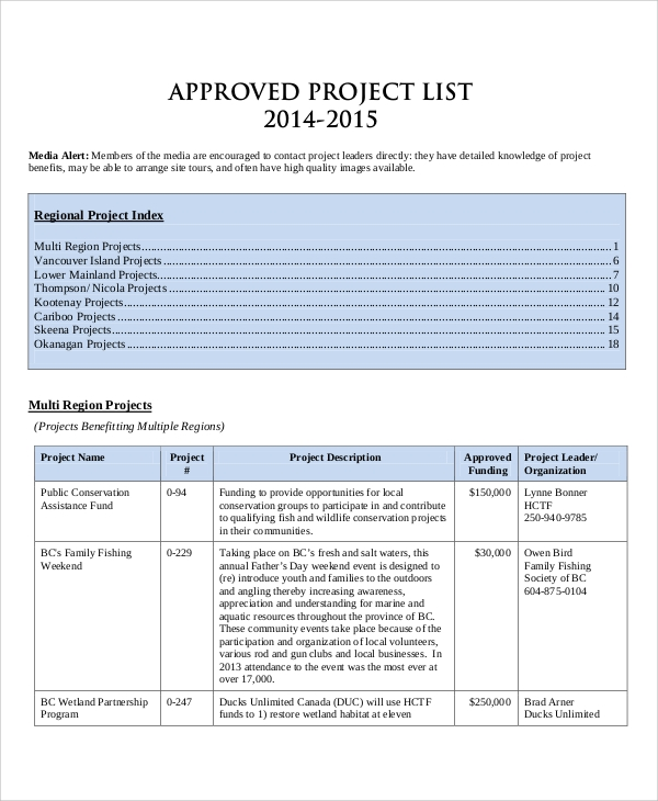 approved project list