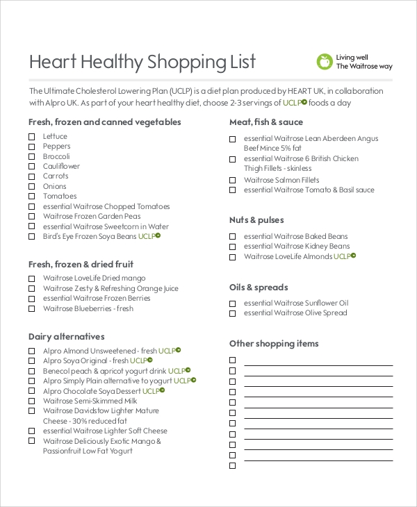 healthy shopping list pdf