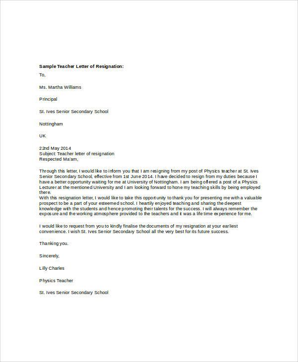 resignation letter for teachers2
