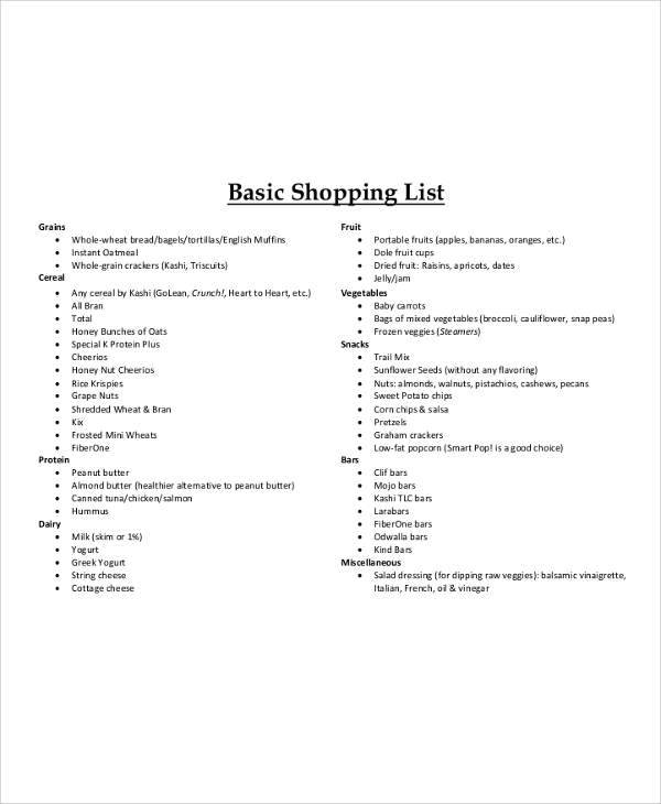 basic shopping list example