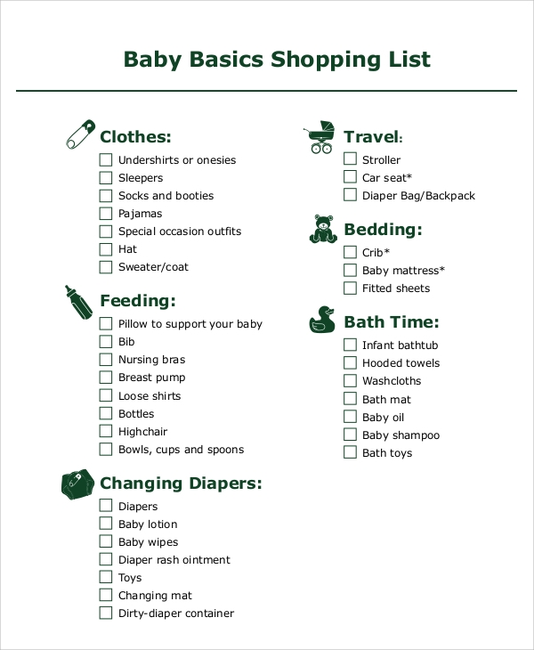 sample baby shopping list