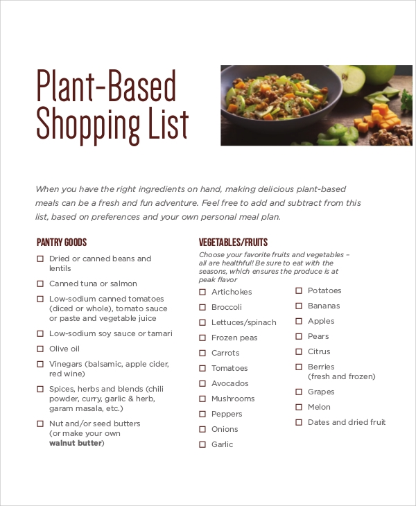 plant based shopping list