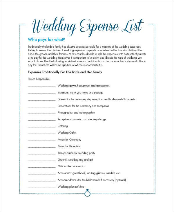 wedding expense list