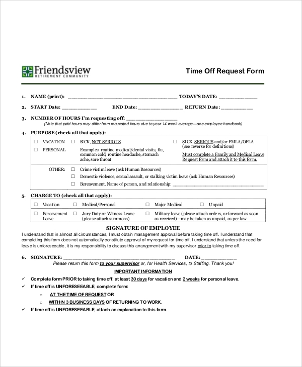 time off request form example