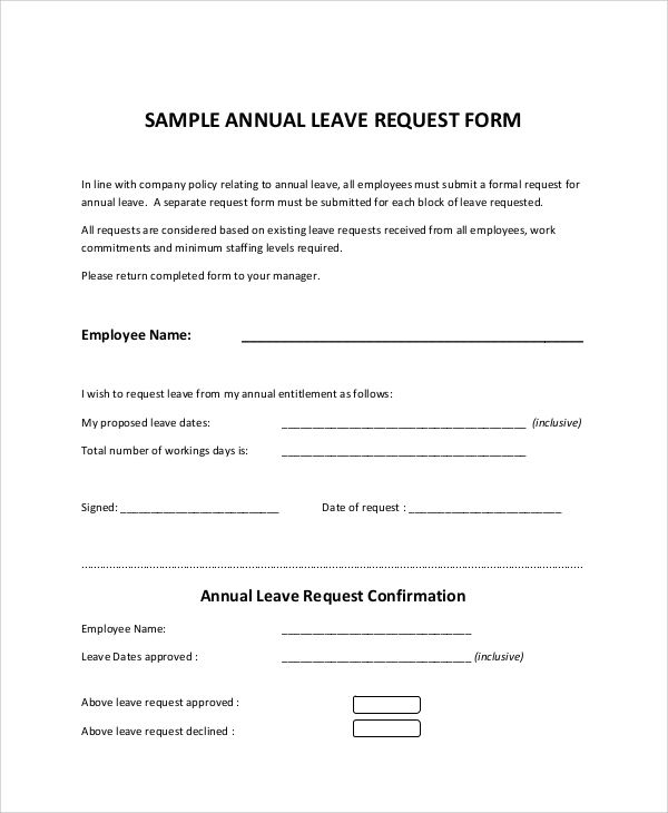 annual leave request form