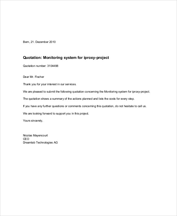 software project quotation