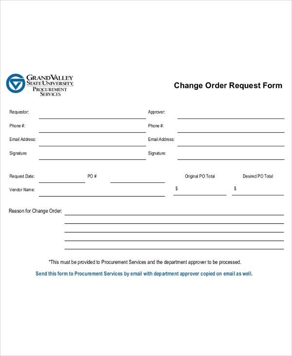 change order request form