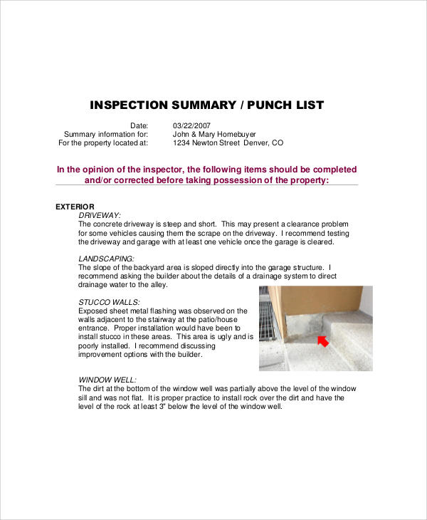 inspection punch list