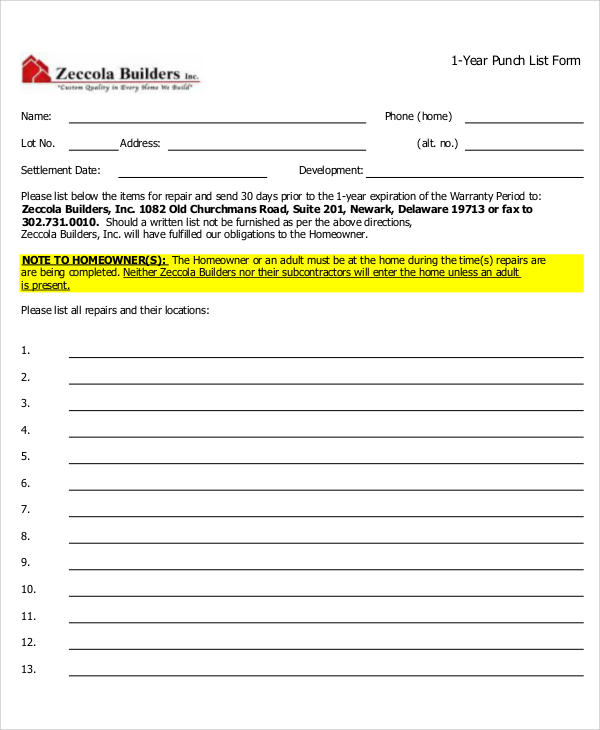 sample punch list form