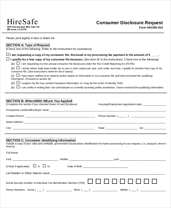 consumer disclosure request form