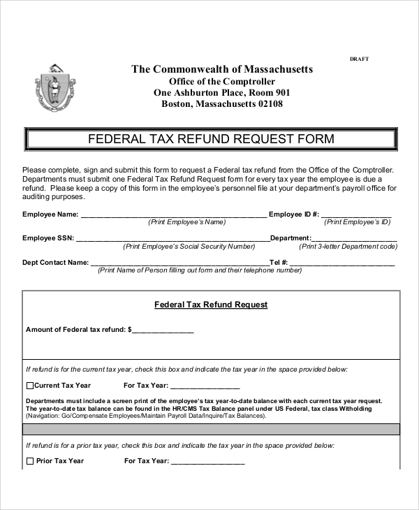 tax refund request form