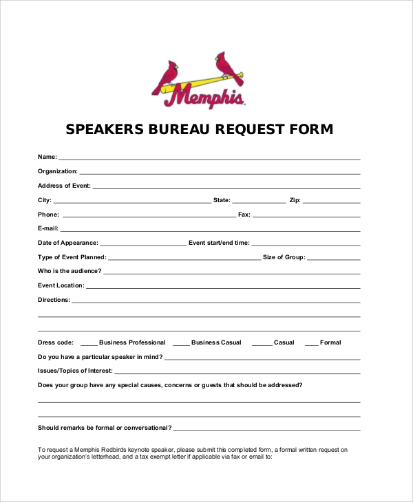 speaker bureau request form