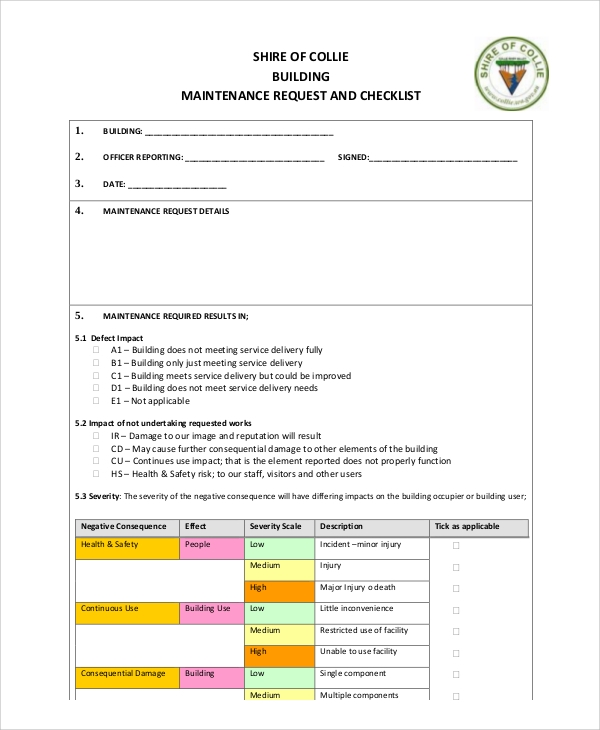 building maintenance request form