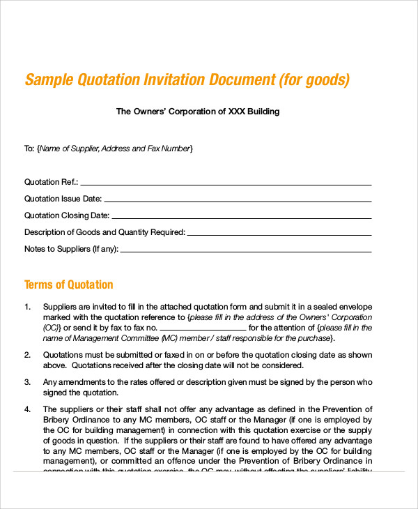 Quotation Form. Printable Quotation Waiver Form 30+ Quotation ...