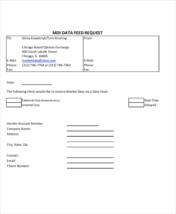 mdi data feed request form